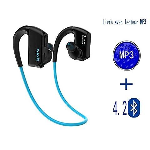 Bluetooth 4.2 casque sans fil avec lecteur MP3 casque de sport anti-sueur IPX5 casque Bluetooth MP3