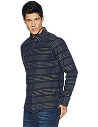 Diverse Men's Striped Slim Fit Cotton Casual Shirt