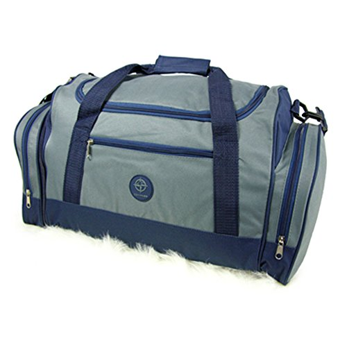 Fashion Essentials-Reise-Gepäck-Ladung Velcro Griff Bindung Holdall Duffle Bag (BLUE) GREY