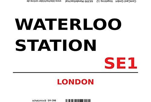 London Street Sign blechschild Waterloo Station London SE1 - white White Station