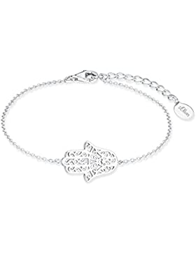 s.Oliver Damen-Armband SO PURE Hamsa Hand 925 Silber rhodiniert 19 cm - 2017215