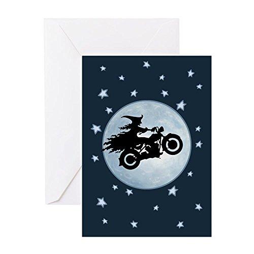CafePress-witch-biker-moon-crd Grußkarten-Grußkarte, Note Karte, Geburtstagskarte, innen blanko, glänzend (Chick Halloween Biker)