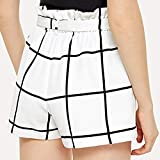 CLOUDWOOD Women's s Hot Pants Plaid Stripe Mid Loose Waist Beach Shorts (Small) White
