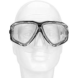 ITODA Lunettes de Plongée Unisexe en Silicone Lunette de Natation Piscine Lunette de Verre trempé Masque de plongée Aanti-buée Réglable imperméable à l'eau pour Homme Femme Enfant
