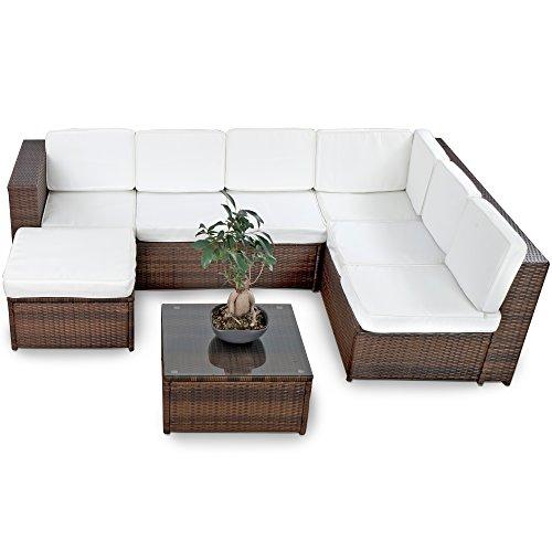 XINRO 19tlg XXXL Polyrattan Gartenmöbel Lounge Sofa günstig – Lounge Möbel Lounge Set Polyrattan Rattan Garnitur Sitzgruppe – In/Outdoor – handgeflochten – mit Kissen – braun - 3