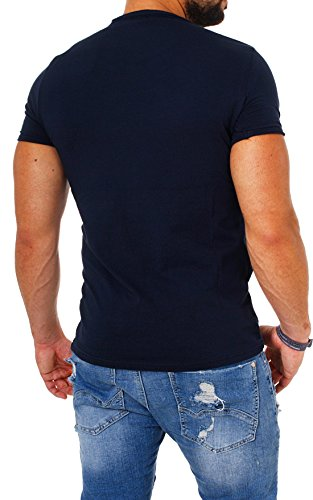 Carisma Herren Uni Basic T-Shirt 4066 tiefer Rundhals Ausschnitt slimfit stretch einfarbig dezenter vintage used Look am Kragen dehnbare Passform Dunkelblau