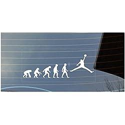 Evolution de Man Baloncesto, NBA–Pegatina para coche, color blanco
