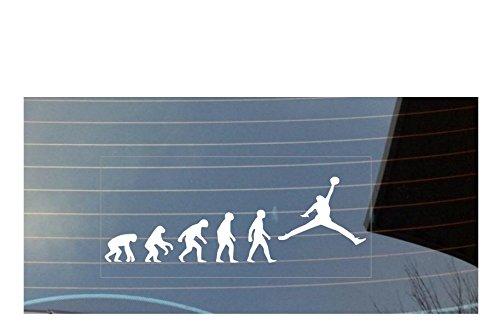Autofenster-aAufkleber, Motiv:  Evolution des Menschen, Rugby, Basketball, NBA; Farbe: Weiß (Pfote Drucken Haustier-schüssel)
