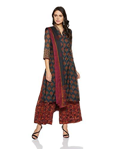 BIBA Women's Anarkali Salwar Suit Set (SKD5663_Dark Blue_36)
