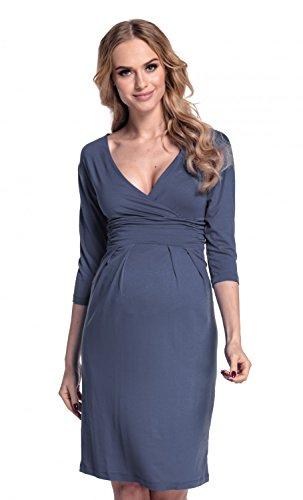 Happy Mama Femme. Robe de maternité plissé. Convient pour l'allaitement. 001p Bleu Gris