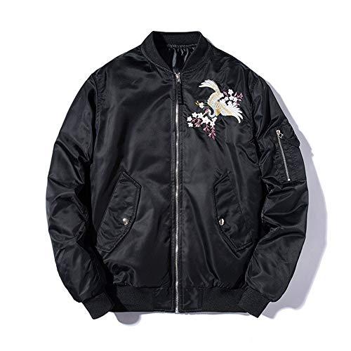 WYX Herren-Stickerei-Bomber Jacket Men Pilot Jacket Male Harajuku Baseball-Jacke Frühling Herbst Street Mantel,Schwarz,M