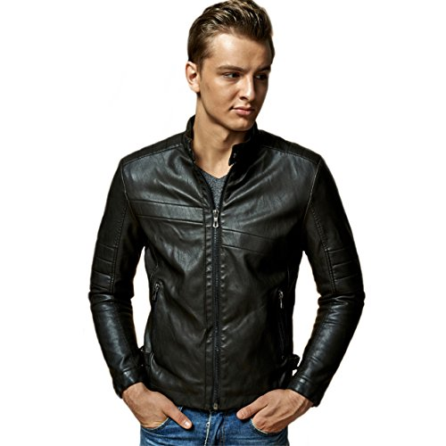 hkragen Pu Leder Stilvolle Jugend Motorrad Jacke mit SAMT inneren (schwarz, XXL) ()