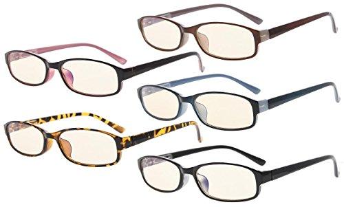 Eyekepper 5-Pack UV Schutz,Blendschutz,entspiegelte kleine Brillen(Eine für jede Farbe, Gelb getönte Linsees)