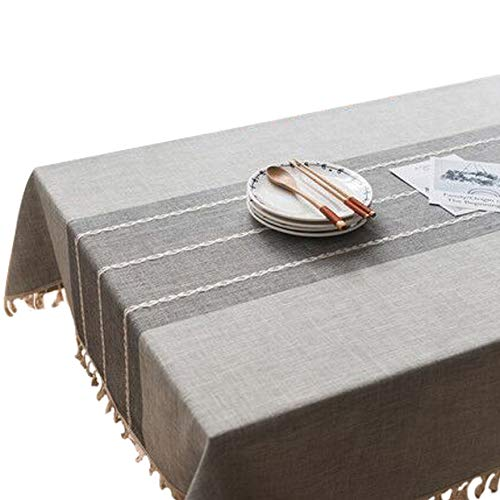 Fringed Lace Design Grey Table Cloth Cotton and Linen Stain and Moisture Resistance Tablecloths Rectangular Washable Dinner Picnic Tassel Table Covers 55x70inch(140x180cm)