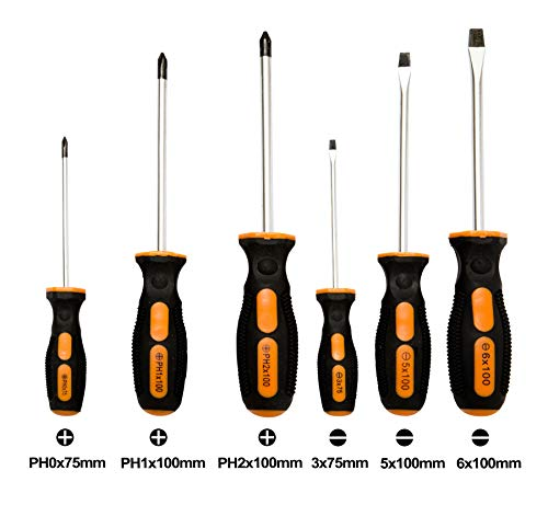 Durable 6pc Screwdriver Set - Chrome Vanadium Steel with Magnetic Tips - Includes 3x Flat-Head sizes: 3x75mm/5x100mm/6x100mm and 3x Phillips-Head: PH0