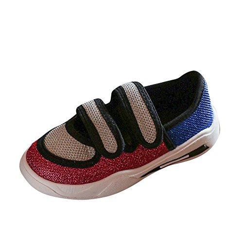 Zapatillas de Deporte de Tela para Unisex Niños Zapatos de Lona con Velcros Rojo 28