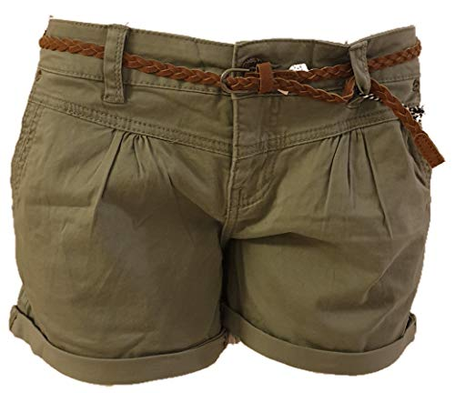 Eight2Nine Hot Pant Damen Bermuda Short tiefer Bund Aufschlag und Flechtgürtel Soft Washed (M, Oliv)