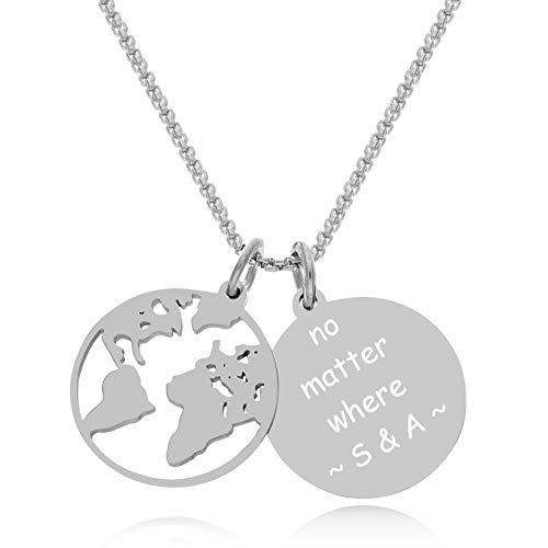 Timando Damen Kette Weltkarte mit Gravur Anhänger