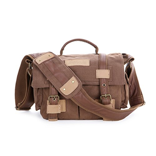 MOACC BBK Series DSLR Slr Camera Canvas Shoulder Bag Backpack Rucksack Bag for Sony Canon Nikon Olympus etc. BBK2Brown