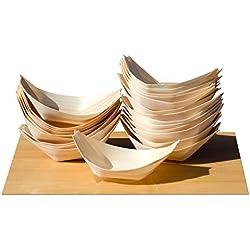 Gifts Of The Orient - Mini Barcos de madera de bambú para aperitivos y canapés, 65X42mm , 200 Unidades