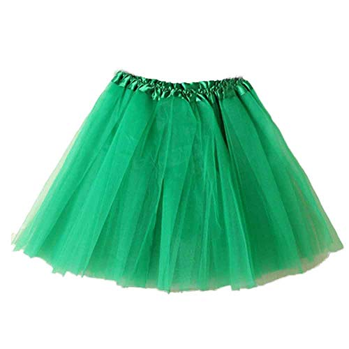 Andouy Damen Tutu Rock Mini Tüll Organza Petticoat Balletttanz Layred Kostüm Dress-up Sexy Größe 34-44(34-44,Gras-Grün)