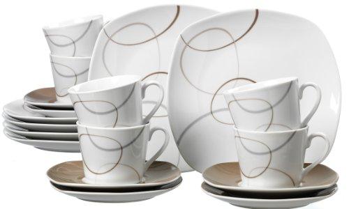 Ritzenhoff & Breker Kaffeeservice Alina Marron, 18-teilig, Porzellangeschirr