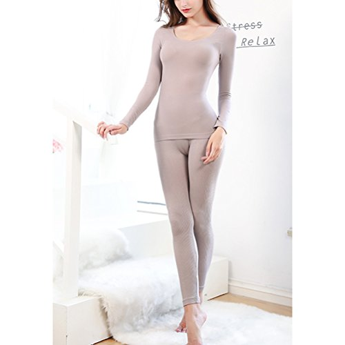 Zhhlaixing Biancheria intima di qualità Womens Lingerie Warm Tops Long Sleeve Slim Shirt Body Thermal Clothes Ladies's Underwear Pink