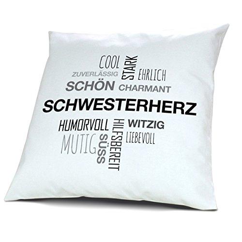 Kopfkissen mit Namen Schwesterherz - Motiv Positive Eigenschaften Tagcloud Schwarz, 40 cm, 100% Baumwolle, Kuschelkissen, Liebeskissen, Namenskissen, Geschenkidee