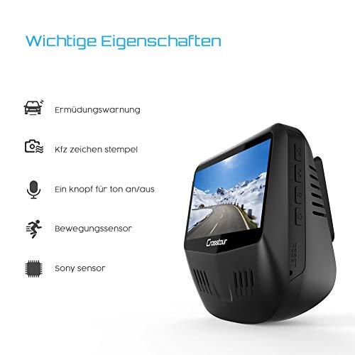 Crosstour Dashcam 1080P Full HD Vorne und Hinten Dual Lens, Externe GPS Auto Kamera, 170 ° Weitwinkelobjektiv HDR Nachtsicht, Bewegungserkennung G-Sensor Loop-Aufnahme - 8