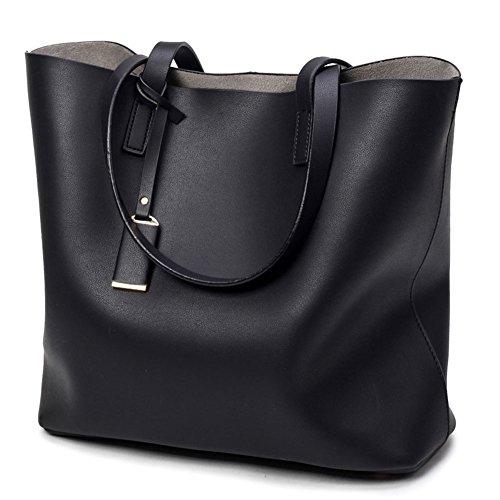 DCRYWRX Damen Leder Tote Geldbörsen Handtaschen Damen Tragetaschen Hobo Schulter Crossbody Taschen,Black (Nylon Kurze Bag Tote)