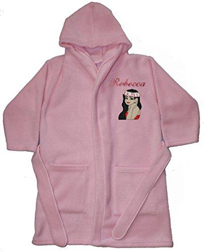 Moana Island Princess Personalised & Applique Super Soft Fleece Dressing Gown/Bathrobe (BABY PINK - MOANA 1)