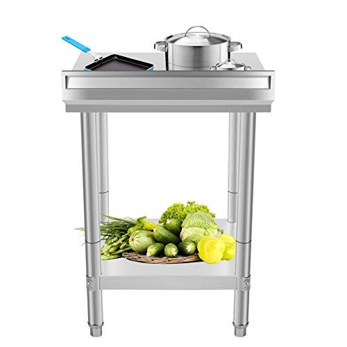 BuoQua 60x60 CM Edelstahltisch Gastro Edelstahl Arbeitstisch Silber Lebensmittel Zubereitungstisch Gewerbliche Arbeitstisch für Küche Bar Restaurant Mit Aufkantung -