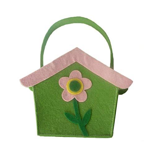fancyU 2 x Osterkorb, 2020 Geschenktüten in Form eines Ostereis, Osterkörbchen, Handtaschen für Kinder, Süßigkeitenbehälter für Ostern, Grün