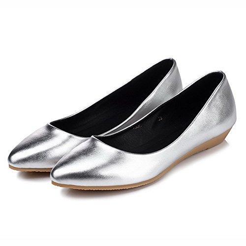 AllhqFashion Femme Tire Pointu Non Talon Couleur Unie Chaussures à Plat Argent