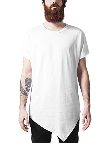 Urban White Shirt (Urban Classics TB1227 Herren T-Shirt Asymetric Long Tee Weiß (White 220), Medium)