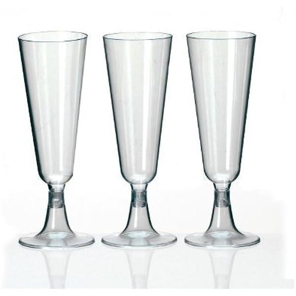 60 Sektgläser Sektglas 0,1 l Plastik Einweg zweiteilig