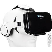 Gafas VR VR-PRIMUS VA4 + mando   Para smartphone 's p.ej. iPhone,Samsung Galaxy,HTC,Sony,LG,Huawei   Ajustable,Google Cardboard QR,Auriculares,Botón de control   VR box,glasses,controlador   blanco