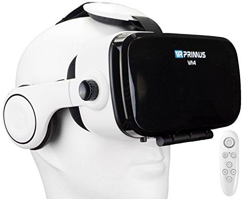 VR-PRIMUS VA4, Casque VR avec écouteurs et Google Cardboard Apps. Compatible avec iPhone X XS et Smartphones Android à 6.2″ p.ex Samsung, Huawei, LG, Sony, Xiaomi |+ Télécommande pour Android