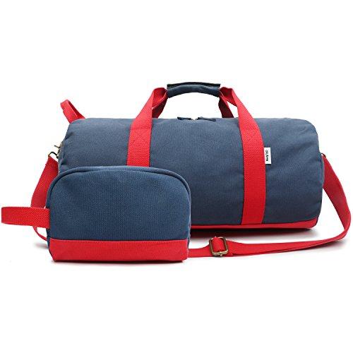 Oflamn borsa da viaggio in tela per donna e uomo - borsa da palestra sportiva - travel duffel bag & sports gym bag (1.0 blu)