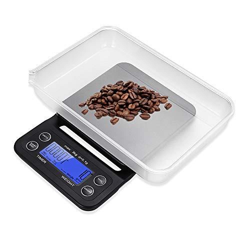 AEVOBAS Küchenwaage mit schüssel, Digitale Küchenwaage mit Timer Funktion, Digitalwaage, Elektronische Waage, Hohe Präzision auf bis zu 0.1g (3kg Maximalgewicht), 5 Maßeinheiten, mit Gummimatte