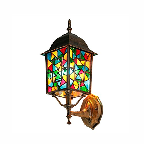 Best wishes shop Lampada da parete- Lampada da parete in alluminio da esterno con lanterna luminosa per esterni (Colore : Stained Glass)
