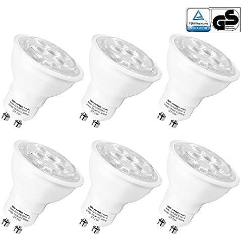 SHINE HAI Bombillas LED Gu10 Lámparas Halógenas Equivalentes a 35W, Blanco cálido 2700K, 5W Iluminación LED 230V,Spot luz,400LM, 6 Unidades