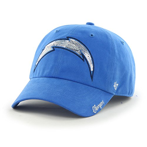 nfl-san-diego-chargers-womens-47-brand-sparkle-team-color-clean-up-adjustable-hat-blue-raz