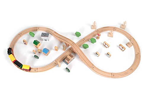 Tidlo Wooden Figure of Eight Train Set (50 Piece)