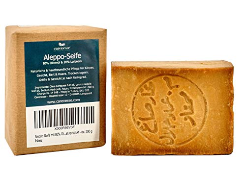 Carenesse Aleppo Seife mit 80% Olivenöl, 20% Lorbeeröl - nach original Rezept aus Syrien Olivenölseife Duschöl Haarseife handgeschnitten - vegan - Naturprodukt - ca. 200 g