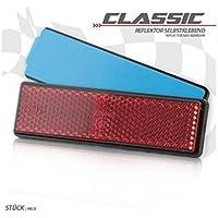 K.A. reflector Classic, rectangular, Rojo, autoadhesivo, tamaño: 94x 27,5mm, homologado por S