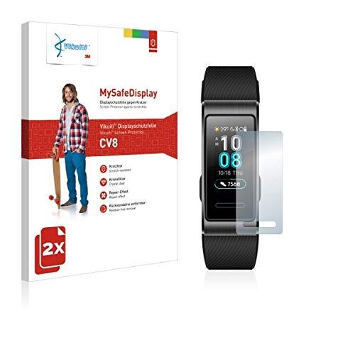 2X VikuitiMySafeBildschirm CV8 Bildschirmschutz Schutzfolie für Huawei Band 3 Pro (Ultraklar, strak haftend, versiegelt Kratzer)