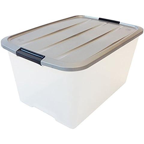 Recuadro 45 litros, caja de plástico transparente, contenedor y manejar, immagazzinoggio plástico, contenedores, almacenaje con tapa, caja orgánica, almacenamiento apilable - 45