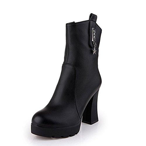 AgooLar Damen Reißverschluss Mittler Absatz PU Knöchel Hohe Stiefel, Schwarz-Lackleder, 39