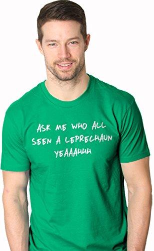 Lustig, Urkomisch Bier (Crazy Dog Tshirts Mens Who All See a Leprechaun Funny St Patricks Day Flip Up T Shirt (Green) 4XL - Herren - 4XL)